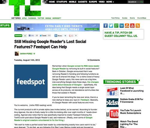 Still Missing Google Reader's Lost Social Features? Feedspot Can Help | TechCrunch
